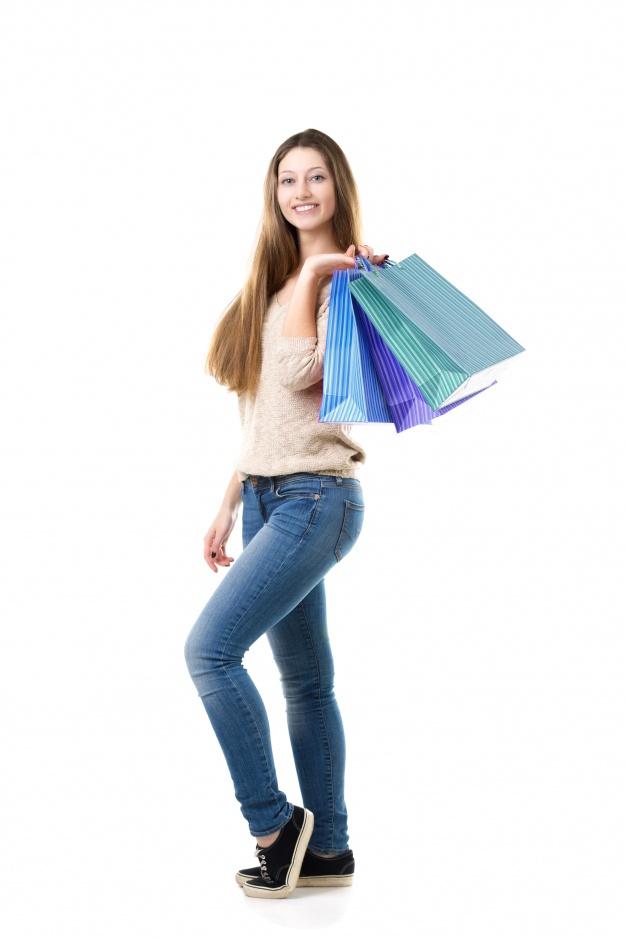 Dame på shopping
